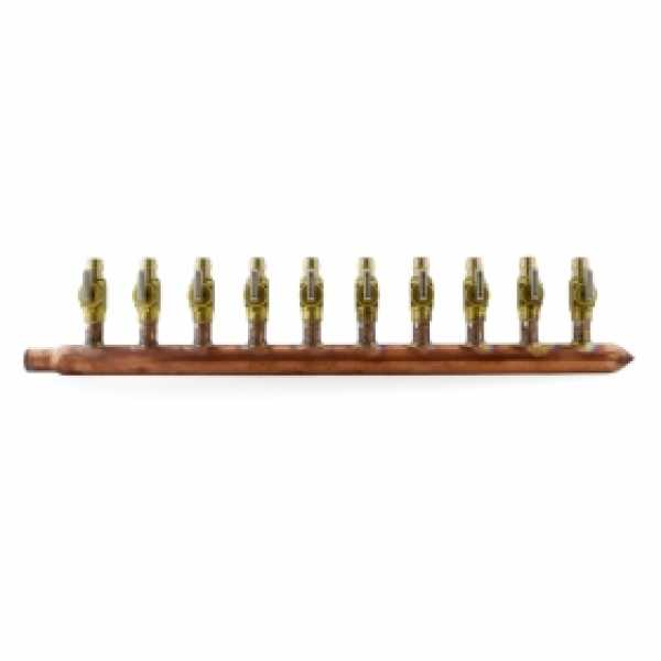 "10-branch 1/2"" PEX-A Copper Manifold w/ Valves, 3/4"" M. Sweat x Closed, LF"