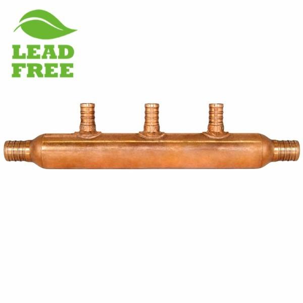 """3-Branch Copper Manifold w/ 1/2"""" PEX branches, 3/4"""" PEX x Open"""