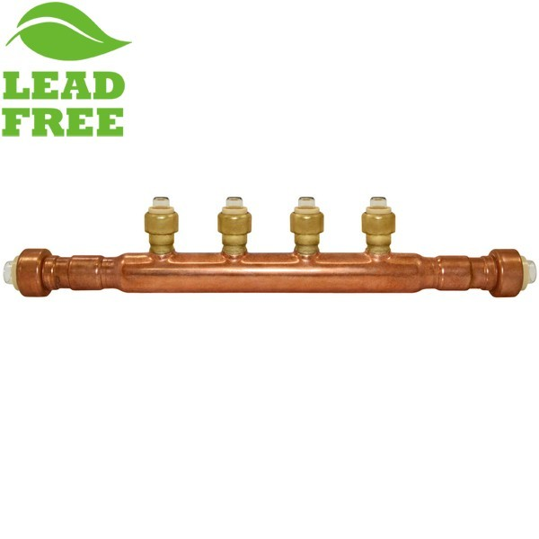 """4-Branch Copper Manifold w/ 1/2"""" Push-to-Connect branches, 3/4"""" x Open"""
