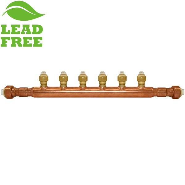 "6-Branch Copper Manifold w/ 1/2"" Push-to-Connect branches, 3/4"" x Open"