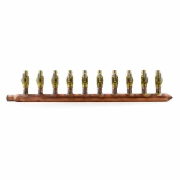 """10-branch Copper Manifold w/ 1/2"""" PEX-A (F1960) Valves, 3/4"""" Male Sweat x Closed, Right-hand, LF"""