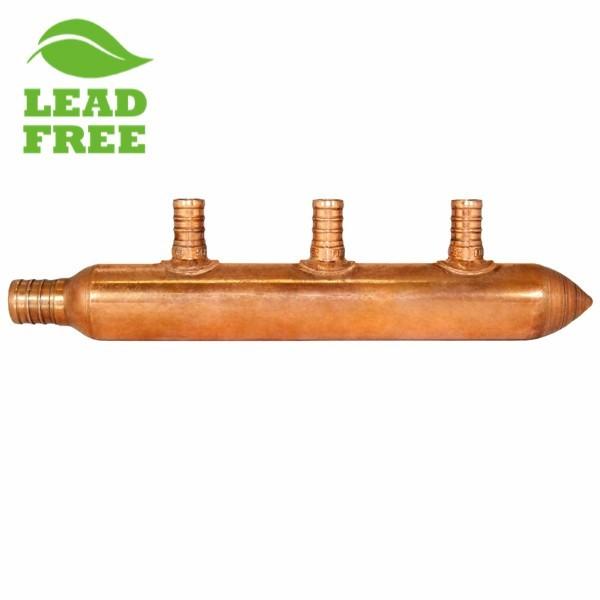 """3-Branch Copper Manifold w/ 1/2"""" PEX branches, 3/4"""" PEX x Closed"""