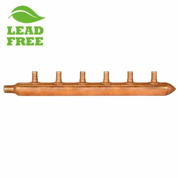 """6-Branch Copper Manifold w/ 1/2"""" PEX branches, 3/4"""" PEX x Closed"""