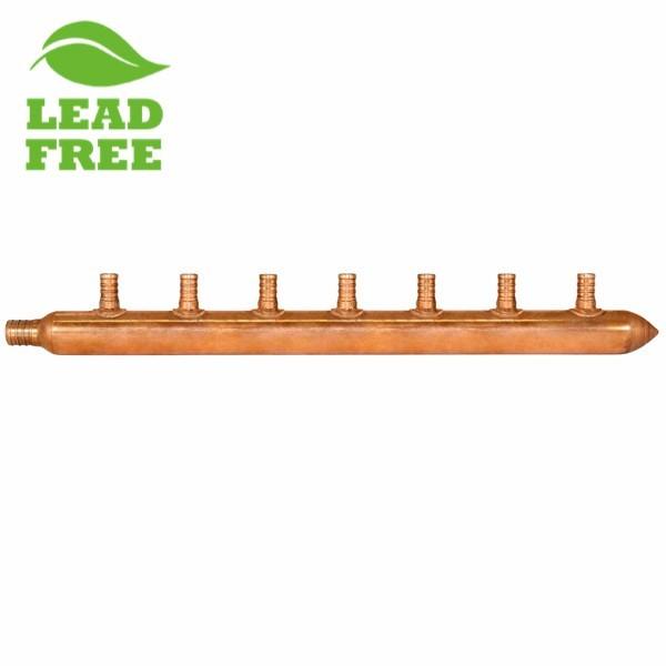"""7-Branch Copper Manifold w/ 1/2"""" PEX branches, 3/4"""" PEX x Closed"""