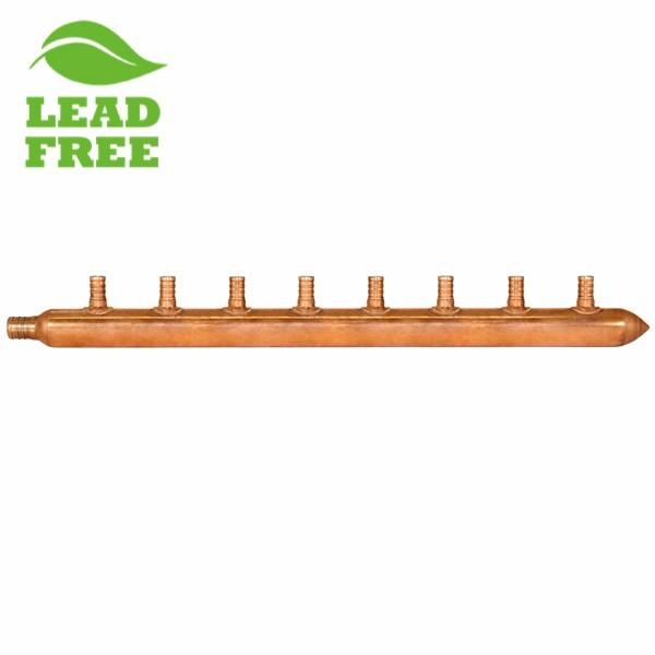 """8-Branch Copper Manifold w/ 1/2"""" PEX branches, 3/4"""" PEX x Closed"""