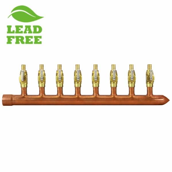 "8-Branch Copper Manifold w/ 1/2"" PEX Valves, 1"" Sweat x Closed, Right-Hand"