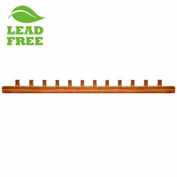 "12-Branch Copper Manifold w/ 3/4"" Sweat branches, 2"" Sweat Trunk"