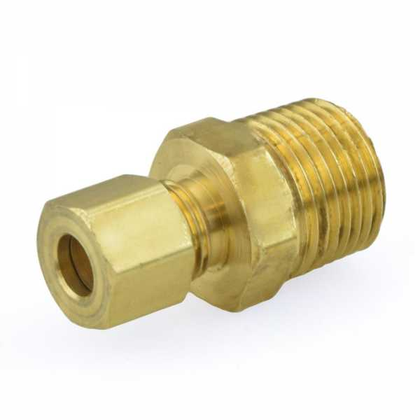 "1/4"" OD x 3/8"" MIP Threaded Compression Adapter, Lead-Free"