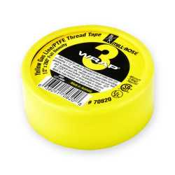 "Yellow Gas PTFE Thread Seal Tape, 1/2"" x 260"""
