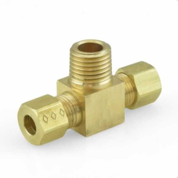 "1/4"" OD x 1/4"" OD x 1/4"" MIP Threaded Compression Tee, Lead-Free"