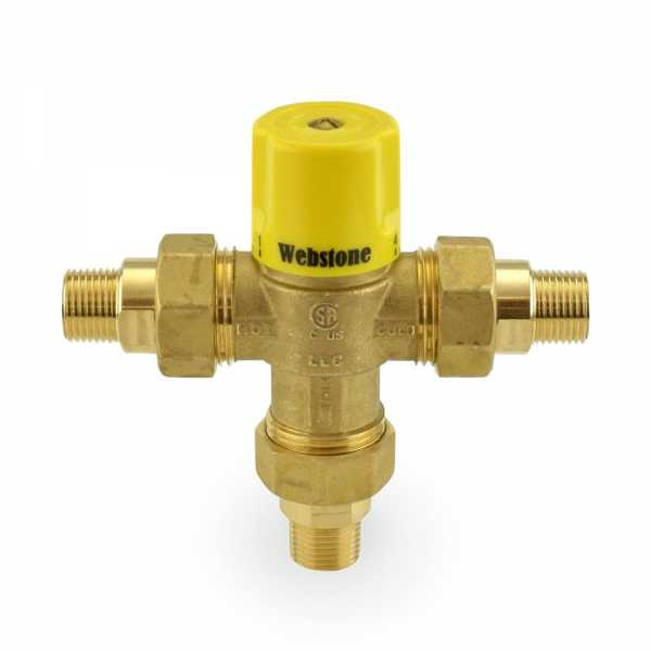 "1/2"" Union Male Threaded Mixing Valve, Lead-Free (95F – 131F)"