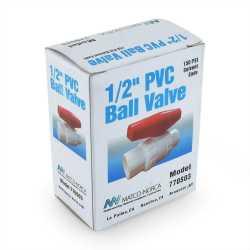 """1/2"""" PVC Ball Valve, Solvent Weld, Sch. 40/80"""