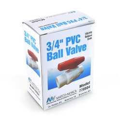 """3/4"""" PVC Ball Valve, Solvent Weld, Sch. 40/80"""