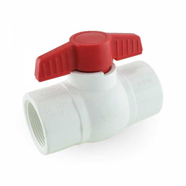 "1-1/2"" PVC Ball Valve, FPT Threaded, Sch. 40/80"