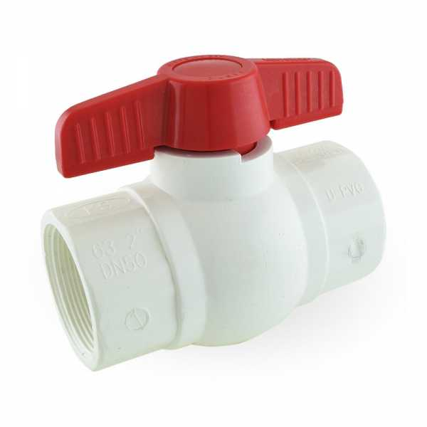 "2"" PVC Ball Valve, FPT Threaded, Sch. 40/80"
