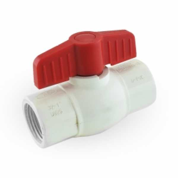 "1"" PVC Ball Valve, FPT Threaded, Sch. 40/80"