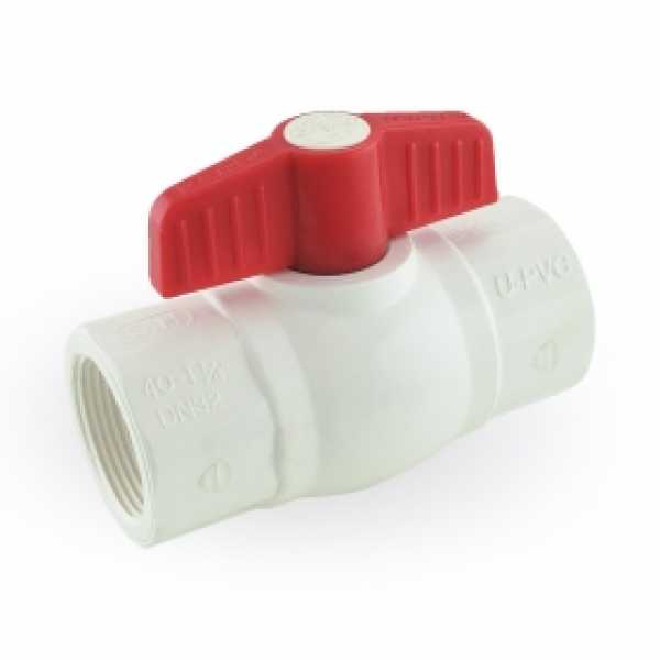"1-1/4"" PVC Ball Valve, FPT Threaded, Sch. 40/80"