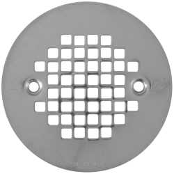 "4-1/4"" Polished Steel (Chrome) Screw-on Shower Drain Strainer w/ Screws"