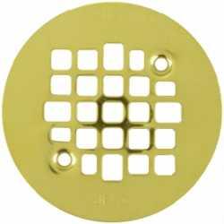"""4-1/4"""" Polished Brass Screw-on Shower Drain Strainer w/ Screws"""