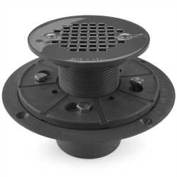 "Round Tile-in PVC Shower Pan Drain w/ Screw-on 19-Gauge St. Steel Strainer, 2"" Hub x 3"" Inside Fit"