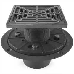 "Square Tile-in PVC Shower Pan Drain w/ Screw-on Polished Steel Strainer & Ring, 2"" Hub x 3"" Inside Fit"
