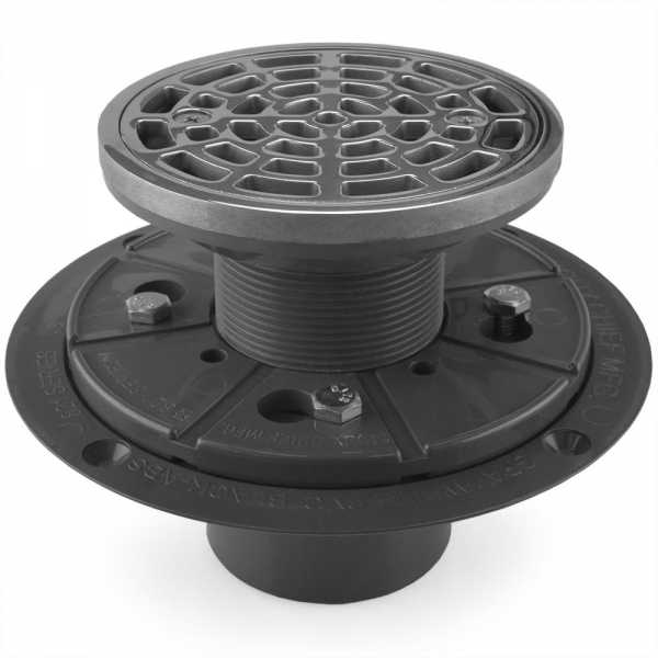 """Round Tile-in PVC Shower Pan Drain w/ Screw-on Polished Steel Strainer & Ring, 2"""" Hub x 3"""" Inside Fit"""