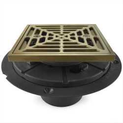 "Square Tile-in PVC Shower Pan Drain w/ Screw-on Nickel Bronze Strainer & Ring, 2"" Hub x 3"" Inside Fit"