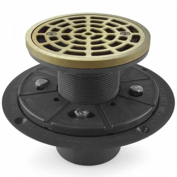 "Round Tile-in PVC Shower Pan Drain w/ Screw-on Nickel Bronze Strainer & Ring, 2"" Hub x 3"" Inside Fit"