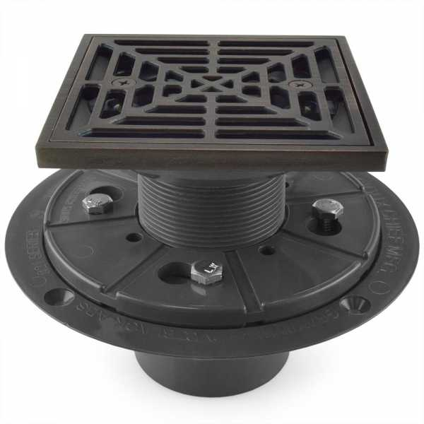 "Square Tile-in PVC Shower Pan Drain w/ Screw-on Oil Rubbed Bronze Strainer & Ring, 2"" Hub x 3"" Inside Fit"