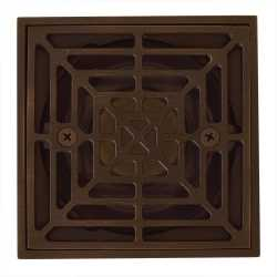 """Square Tile-in PVC Shower Pan Drain w/ Screw-on Oil Rubbed Bronze Strainer & Ring, 2"""" Hub x 3"""" Inside Fit"""