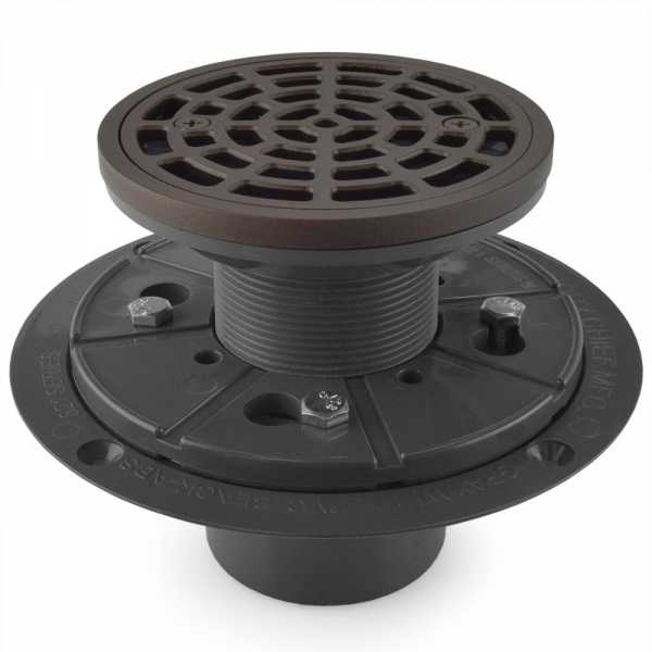 "Round Tile-in PVC Shower Pan Drain w/ Screw-on Oil Rubbed Bronze Strainer & Ring, 2"" Hub x 3"" Inside Fit"