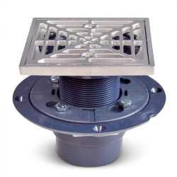 "Square PVC Shower Tile/Pan Drain w/ Matte St. Steel Strainer, 2"" Hub x 3"" Inside Fit"