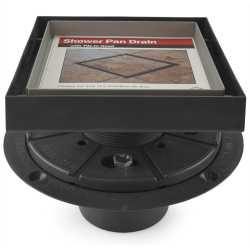 """Square Tile-in PVC Shower Pan Drain w/ 5"""" x 5"""" St. Steel Tile Insert Grate, 2"""" Hub"""