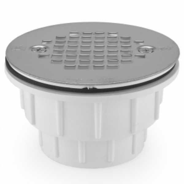 "2"" Hub PVC, Shower Module Drain (Solvent Weld) w/ Screw-on Strainer"
