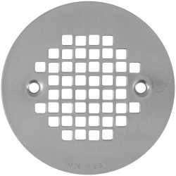 "4-1/4"" Satin Nickel Screw-on Shower Drain Strainer w/ Screws"
