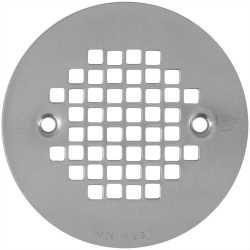 """4-1/4"""" Satin Nickel Screw-on Shower Drain Strainer w/ Screws"""