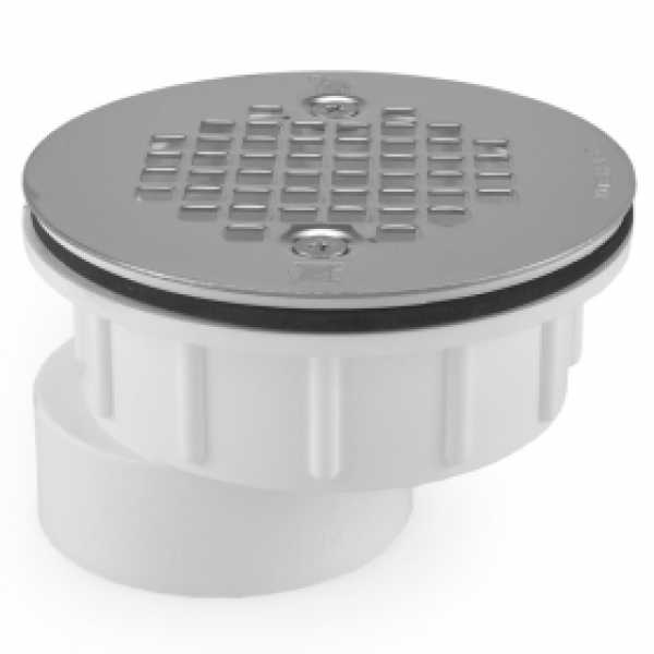 "2"" Hub PVC, Offset Shower Module Drain (Solvent Weld) w/ Screw-On Strainer"