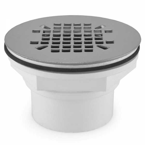 """2"""" Hub PVC, Shower Module Drain (Slip-Fit or Solvent Weld) w/ Snap-in Strainer"""