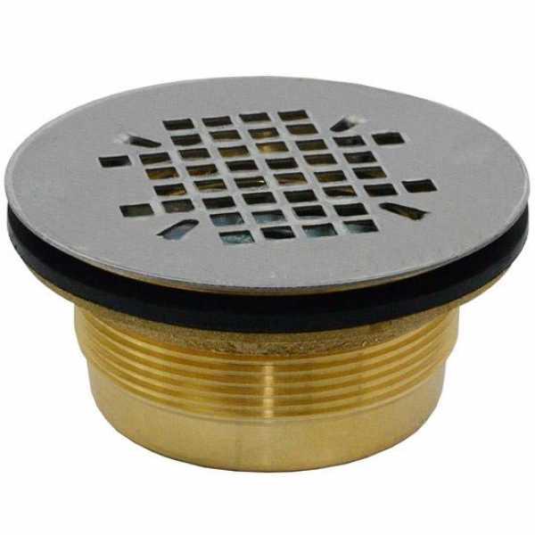"2"" Hub, Brass Shower Module Drain (Slip-Fit) w/ Snap-in Strainer"