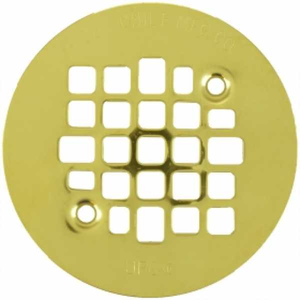 "4-1/4"" Polished Brass Screw-on Shower Drain Strainer w/ Screws"