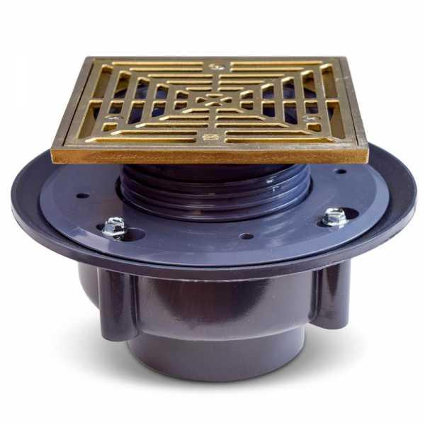 "High-Capacity, Square PVC Shower Tile/Pan Drain w/ Brushed Bronze Strainer, 3"" Hub"