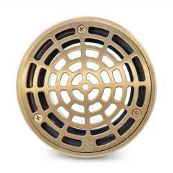 "High-Capacity, Round PVC Shower Tile/Pan Drain w/ Brushed Bronze Strainer, 3"" Hub"