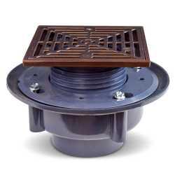 "High-Capacity, Square PVC Shower Tile/Pan Drain w/ Oil Rubbed Bronze Strainer, 3"" Hub"