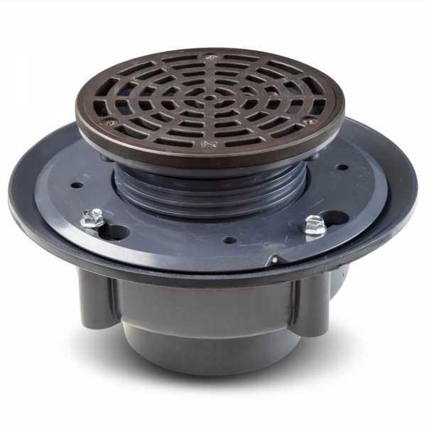 "High-Capacity, Round PVC Shower Tile/Pan Drain w/ Oil Rubbed Bronze Strainer, 3"" Hub"