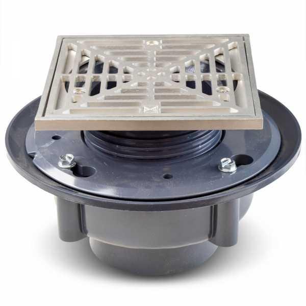 "High-Capacity, Square PVC Shower Tile/Pan Drain w/ Matte St. Steel Strainer, 3"" Hub"
