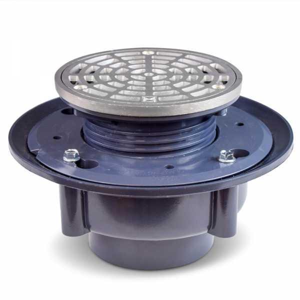"High-Capacity, Round PVC Shower Tile/Pan Drain w/ Matte St. Steel Strainer, 3"" Hub"