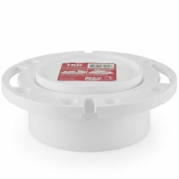 "4"" Hub, Total Knockout Closet Flange (TKO), One-Piece, SCH40 PVC"
