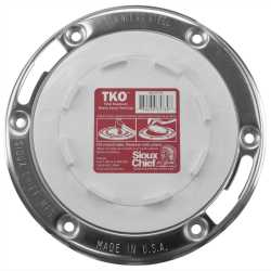 "3"" Hub x 4"" Inside, FullFlush Offset Total Knockout Closet Flange (TKO) w/ Swivel St. Steel Ring, SCH40 PVC"