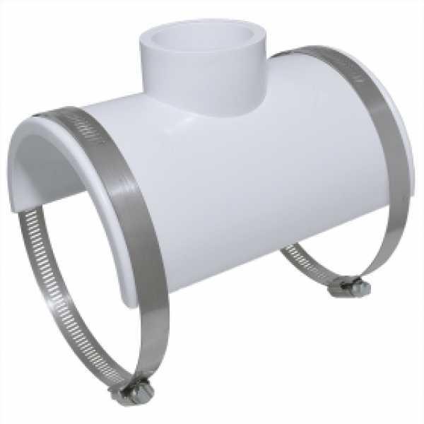 "4"" x 1-1/2"" hub (or 2"" spigot) PVC Smart Saddle Tee"
