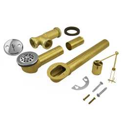 Trip Lever Bathtub Drain Waste (Full Kit) w/ Grid Drain, 20GA Tubular Brass, 2-hole